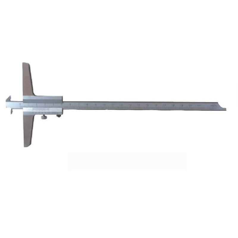 Tiefenmessschieber 200 mm mit Doppelhaken und umsteckbar Brückenlänge: 100 mm mit Feststellschraube