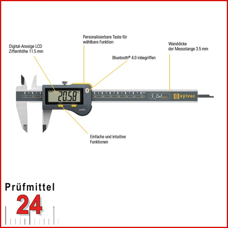 Sylvac Digital Messschieber Ip67 S Cal Evo 200 Mm Ablesung