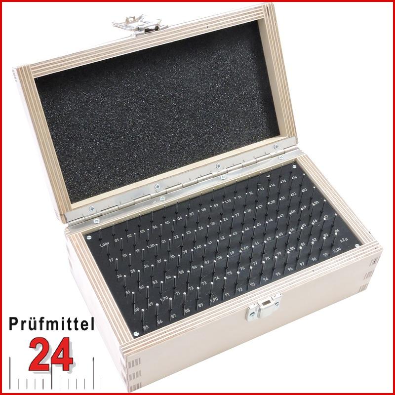 STEINLE Prüfstiftsatz: 1,00 - 2,00 x 70 mm / Stufung: 0,02 mm DIN 2269 - Gen. 2 - Anzahl: 51 Stück in 1 Holzkasten